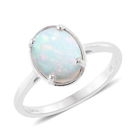 ILIANA 18K White Gold 1.40 Ct AAA Ethiopian Welo Opal Solitaire Ring