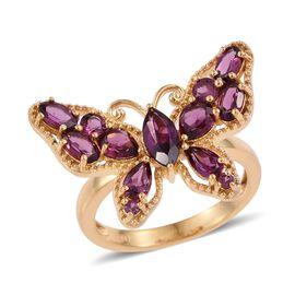Rhodolite Garnet (Mrq 0.60 Ct) Butterfly Ring in 14K Gold Overlay Sterling Silver 3.250 Ct.