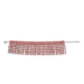 AAA Pink Austrian Crystal Bracelet (Size 7.5) in Silver Tone
