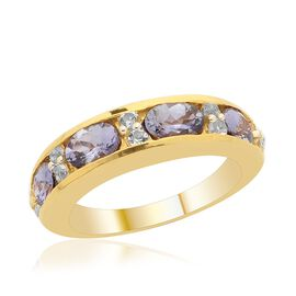 Natural Green Tanzanite (Ovl), White Topaz Band Ring in 14K Gold Overlay Sterling Silver 2.250 Ct.