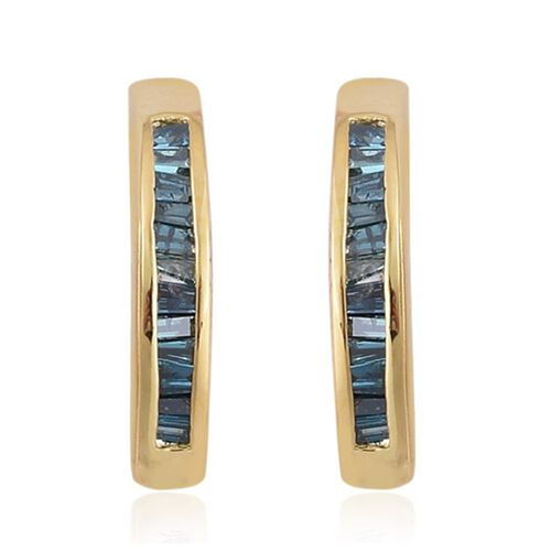 Blue Diamond (Bgt) Earrings in Yellow Gold Overlay Sterling Silver 0.250 Ct.