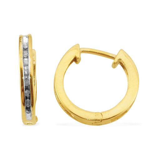 Diamond (Rnd) Hoop Earrings in 14K Gold Overlay Sterling Silver 0.07 Ct.