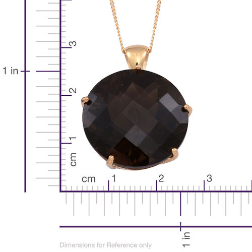 Brazilian Smoky Quartz (Rnd) Pendant With Chain in 14K Gold Overlay Sterling Silver 21.000 Ct.