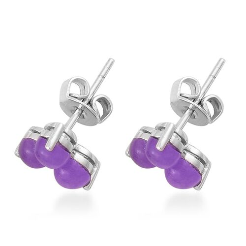 Purple Jade (Rnd) Stud Earrings (with Push Back) in Platinum Overlay Sterling Silver 2.400 Ct.