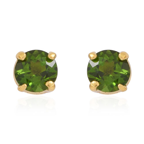 Russian Diopsode (Rnd) Stud Earrings (with Push Back) in 14K Gold Overlay Sterling Silver 1.000 Ct.