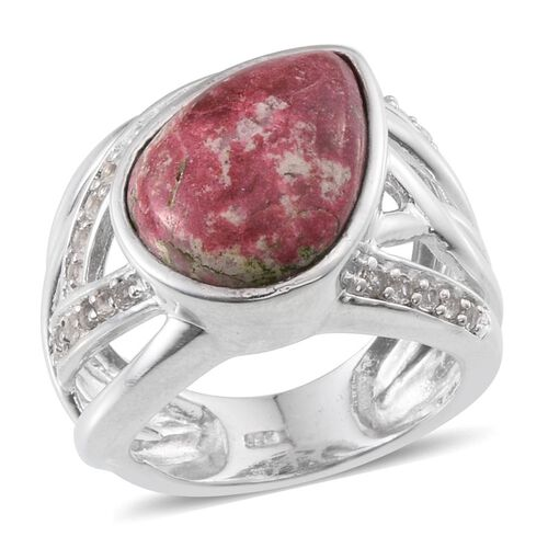 Norwegian Thulite (Pear 9.50 Ct), White Topaz Ring in Platinum Overlay Sterling Silver 10.000 Ct.