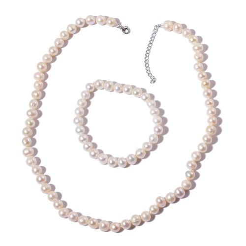 Fresh Water White Pearl Necklace (Size 18 with 2 inch Extender) and Stretchable Bracelet (Size 7.50) in Rhodium Plated Sterling Silver