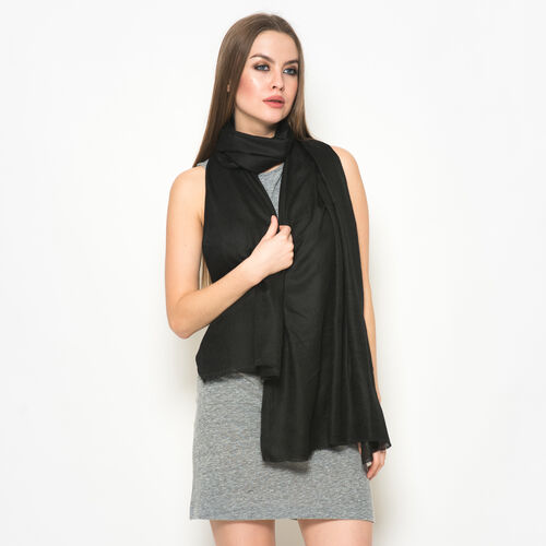 NEW FOR SEASON - 88% Merino Wool and 12% Silk Black Colour Scarf (Size 200x70 Cm)