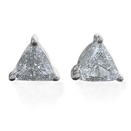 9K White Gold SGL Certified Diamond (Trl) (G-H/2) Stud Earrings (with Push Back) 0.280 Ct.