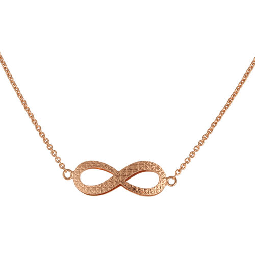 Close Out Deal Rose Gold Overlay Sterling Silver Infinity Necklace (Size 26), Silver wt 4.50 Gms.