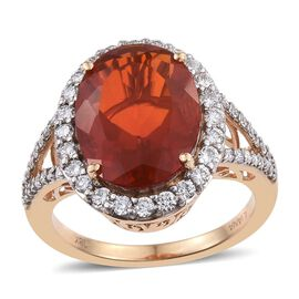 ILIANA 18K Y Gold AAAA Jalisco Fire Opal (Ovl 5.75 Ct), Diamond Ring 6.750 Ct.