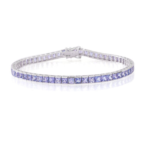 Limited Available-9K W Gold Tanzanite (Princess Cut) Tennis Bracelet (Size 7.5) 10.000 Ct.9.00 Grams of 9k Gold