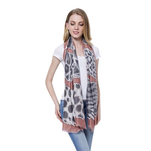 Black and White Colour Zebra Pattern Peach Colour Scarf (Size 180x65 Cm)