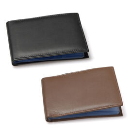Set of 2 - Genuine Leather Chocolate and Black Colour RFID Bi-Fold Wallet and Card Holder with 24 Card Slots (Can hold Up to 96 Cards) (Size 14x10 Cm)