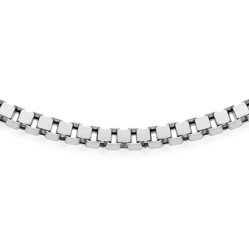 Vicenza Collection Silver Box Necklace with Rhodium Plating (Size 20), Silver wt 80.00 Gms.