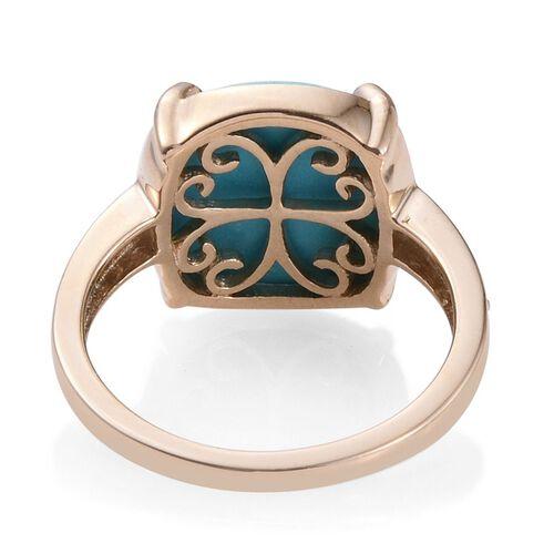 9K Y Gold Arizona Sleeping Beauty Turquoise (Cush 6.10 Ct), Diamond Ring 6.250 Ct.