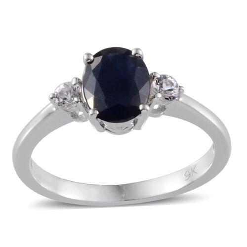 9K White Gold Kanchanaburi Blue Sapphire (Ovl 1.40 Ct), White Sapphire Ring 1.550 Ct.