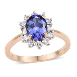 ILIANA 18K Yellow Gold 1.75 Carat AAA Tanzanite Oval Halo Ring, Diamond SI G-H.