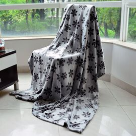 Superfine Double Layer Microfibre Burn Out Grey and Silver Colour Blanket with Snowflakes Pattern (Size 200x150 Cm)
