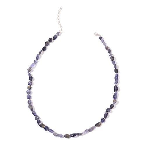 Iolite Necklace (Size 18 with 2 inch Extender) in Rhodium Plated Sterling Silver 73.500 Ct.