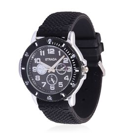 STRADA Japanese Movement Black Dial Water Resistant Watch in Black Tone with Stainless Steel Back and Black Silicone Band Strap