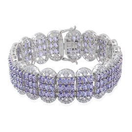 DOD - Designer Inspired - Limited Edition - AA Tanzanite (Ovl), Natural Cambodian White Zircon Cocktail Bracelet (Size 7.25) in Rhodium Plated Sterling Silver 40.000 Ct.