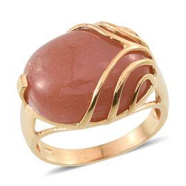 Morogoro Peach Sunstone (Ovl) Ring in 14K Gold Overlay Sterling Silver 12.000 Ct.