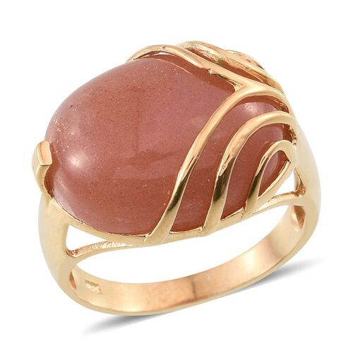 Morogoro Peach Sunstone (Ovl) Ring in 14K Gold Overlay Sterling Silver 12.000 Ct.