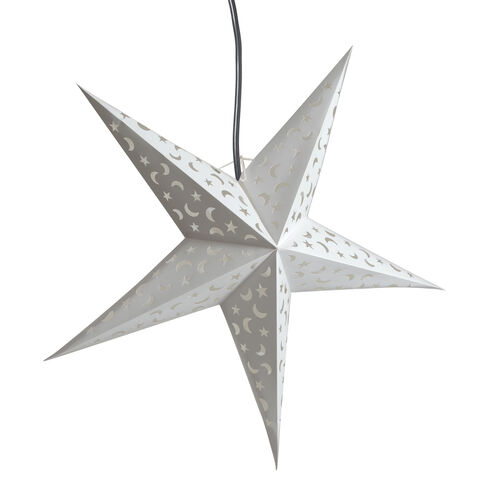 CHRISTMAS SPECIAL Home Decor - Laser Cut Moon and Star Pattern White Colour Handmade Star with Electric Cable (Size 60 Cm)