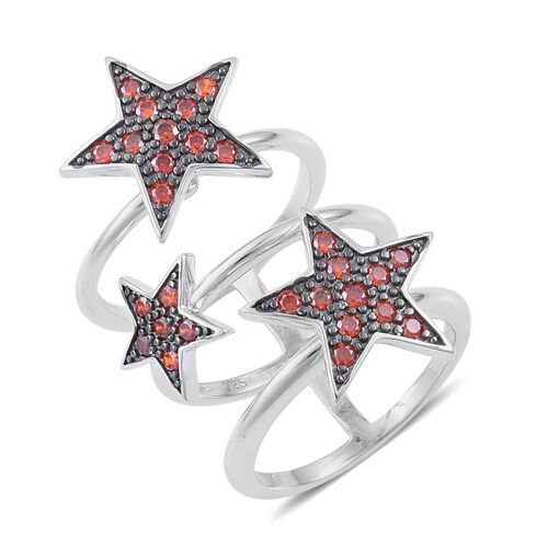 ELANZA AAA Simulated Red Diamond  Star Ring in Black Rhodium Plated Sterling Silver