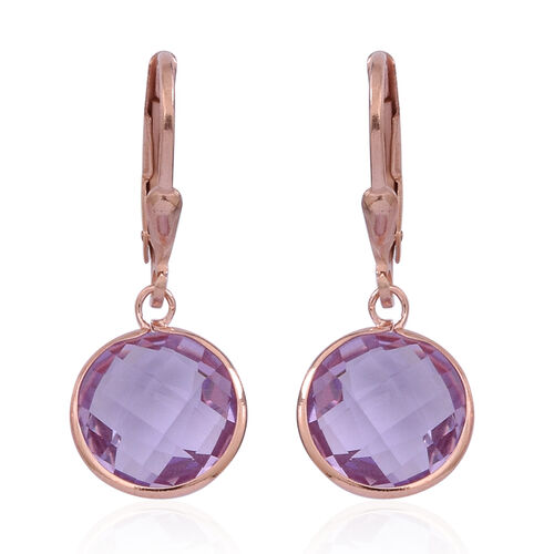 Rose De France Amethyst (10.0mm) Lever Back Earrings in 14K Rose Gold Overlay Sterling Silver 5.500 Ct.