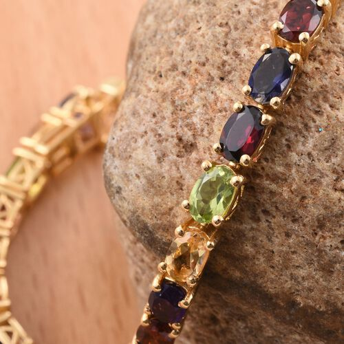 Colours of Life Collection - Mozambique Garnet (Ovl), Rhodolite Garnet, Hebei Peridot, Amethyst, Citrine and Iolite Bracelet (Size 7.5) in 14K Gold Overlay Sterling Silver 13.200 Ct.