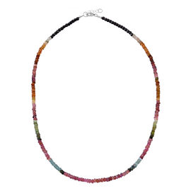 Multi Tourmaline (Rnd) Necklace (Size 20 Extender) in Rhodium Plated Sterling Silver 50.000 Ct.