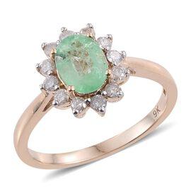 9K Y Gold Boyaca Colombian Emerald (Ovl 1.05 Ct), Diamond Ring 1.450 Ct.