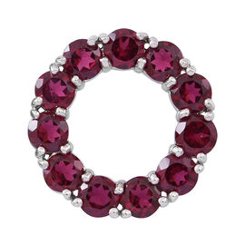 Odisha Rhodolite Garnet (Rnd) Circle of Life Pendant in Rhodium Plated Sterling Silver 7.500 Ct.