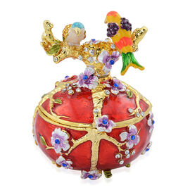 Red Colour Enameled Egg with Two Birds Trinket Box in Gold Tone Decorated with Multi Colour Austrian Crystal