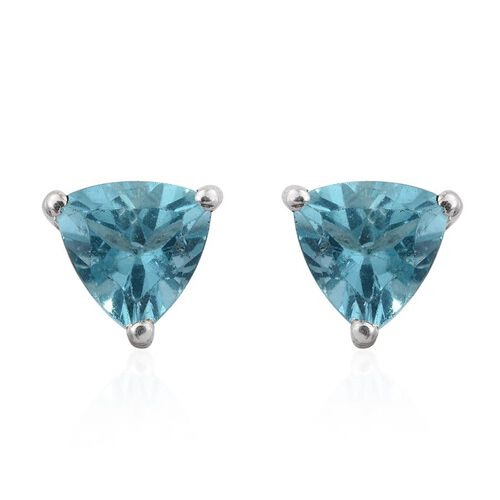 Paraibe Apatite (Trl) Stud Earrings (with Push Back) in Sterling Silver 1.000 Ct.