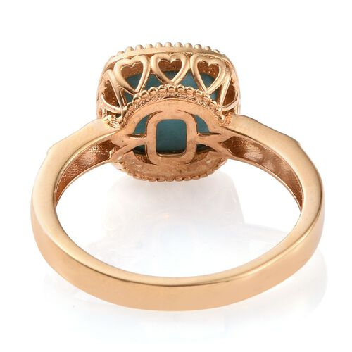 Arizona Sleeping Beauty Turquoise (Cush) Solitaire Ring in 14K Gold Overlay Sterling Silver 5.000 Ct.