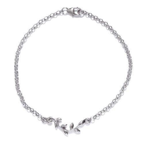Platinum Overlay Sterling Silver Leaves Bracelet (Size 7.5)