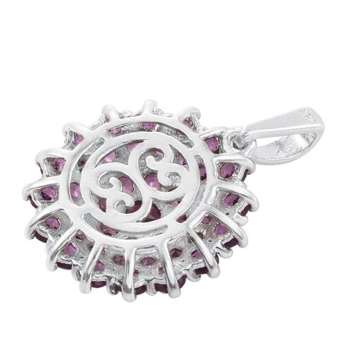 Rare Mozambique Grape Colour Garnet (Rnd) Cluster Pendant in Platinum Overlay Sterling Silver 3.000 Ct.