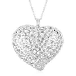 RACHEL GALLEY Rhodium Plated Sterling Silver Amore Heart Pebble Lattice Necklace (Size 30), Silver wt 33.00 Gms.