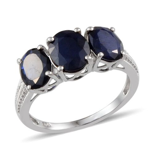 Kanchanaburi Blue Sapphire (Ovl 1.75 Ct) 3 Stone Ring in Platinum Overlay Sterling Silver 4.000 Ct.