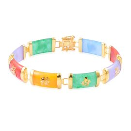 Multi Colour Jade Chinese Character LU (Promising Career), SHOU (Longevity), FU (Goodluck and Happiness) Bracelet (Size 7.5) in Yellow Gold Overlay Sterling Silver 59.000 Ct.