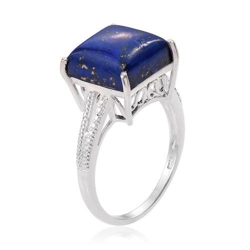 Lapis Lazuli (Sqr) Solitaire Ring in Sterling Silver 8.000 Ct.