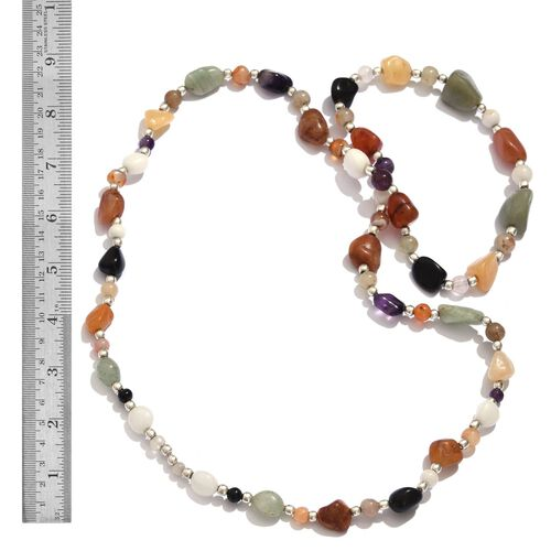 White Quartzite, Green Aventurine, Quartsite, Multi Colour Agate, Carnelian and Amethyst Necklace (Size 36) in Silver Tone 320.600 Ct.
