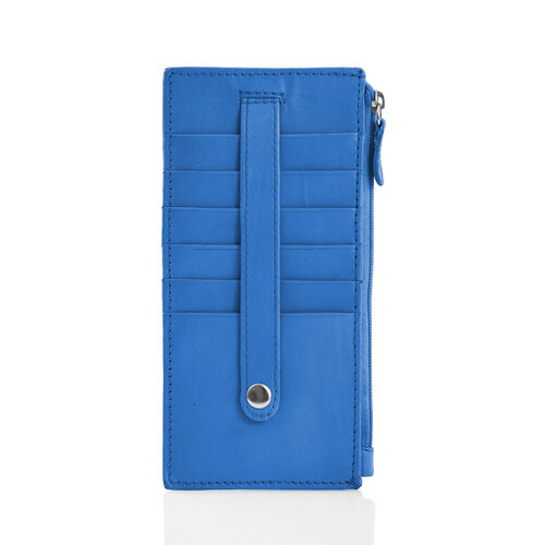 Genuine Leather RFID Blocker Blue Colour Ladies Wallet