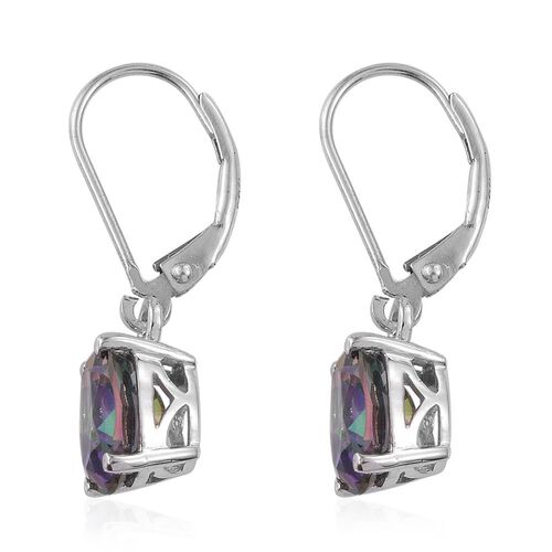 Northern Lights Mystic Topaz (Ovl) Lever Back Earrings in Platinum Overlay Sterling Silver 4.250 Ct.