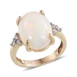 14K Y Gold AAA Ethiopian Welo Opal (Ovl 7.60 Ct), Diamond Ring 7.800 Ct.