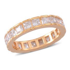 ELANZA AAA Simulated White Diamond (Sqr) Full Eternity Ring in Yellow Gold Overlay Sterling Silver