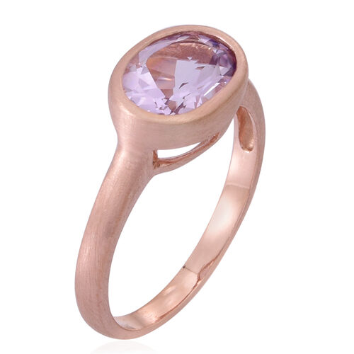Rose De France Amethyst (Ovl) Solitaire Ring in Rose Gold Overlay Sterling Silver 2.500 Ct.